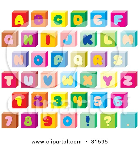 Clipart Illustration of a Font Set Of Colorful Letters, Numbers And Punctuation On Cubes by Alex Bannykh
