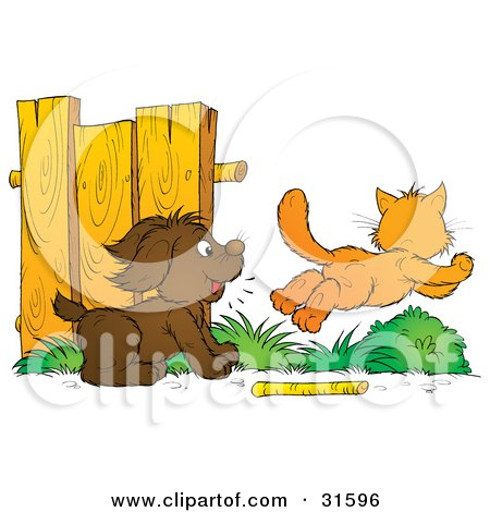 Clipart Illustration of a Dog Distracted From Fetching A Stick, Chasing An Orange Cat by Alex Bannykh