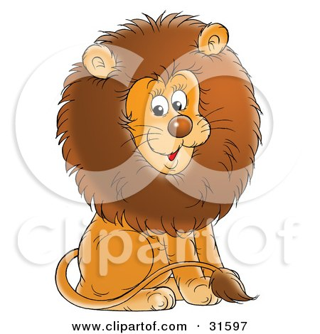 Young Male Lion With A Big Brown Mane, Sitting And Smiling Posters, Art Prints