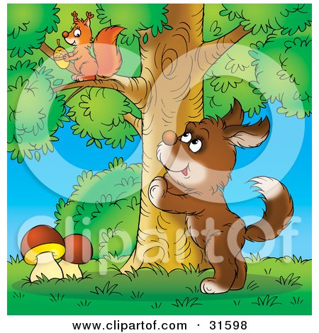 Clipart Illustration of a Curious Brown Dog Standing Up Against A Tree, Watching A Squirrel Gathering Acorns by Alex Bannykh