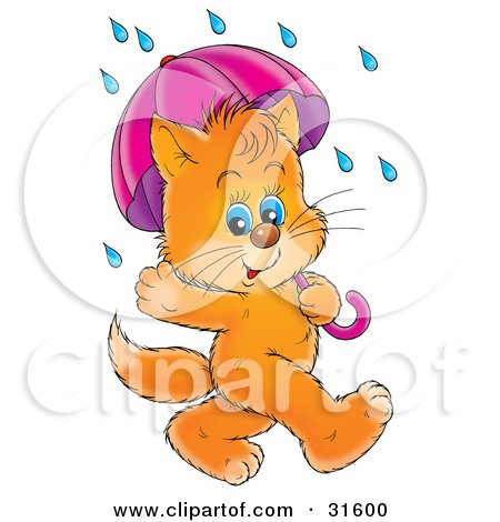 Clipart Illustration of a Cute Blue Eyed Ginger Kitten Waving And Strolling With An Umbrella On A Rainy Day by Alex Bannykh