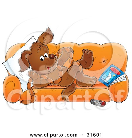 Clipart Illustration of a Puppy Relaxing On An Orange Couch, Holding A String Of Sausages by Alex Bannykh