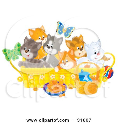 Clipart Illustration of a Butterfly Over A Litter Of Colorful Kittens In A Basket With Food And A Ball On The Floor by Alex Bannykh