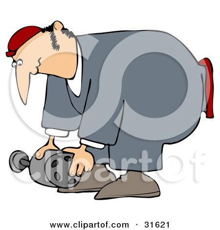 Clipart Illustration of a Male Mechanic In Coveralls, Bending Over To Lift An Auto Part by djart