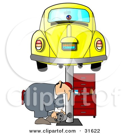 Clipart Illustration of a Male Mechanic Bending Over To Lift A Part While Working Under A Yellow Slug Bug Car On A Lift In A Garage by djart
