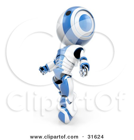 Clipart Illustration of a Blue AO-Maru Robot Starting To Float Upwards Weightlessly by Leo Blanchette