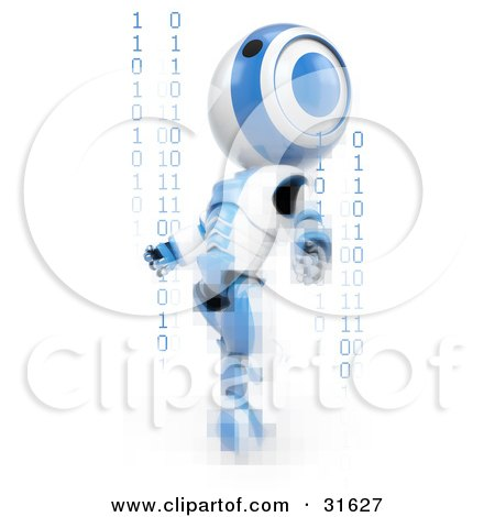 Clipart Illustration of a Blue AO-Maru Robot Distorted With Pixels, Leaning Back And Looking Upwards With Strands Of Binary Coding by Leo Blanchette