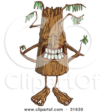 Clipart Illustration of a Grinning Ent Tree Standing With His Branches Behind His Back by PlatyPlus Art