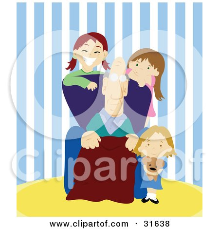 Clipart Illustration of a Group Of Three Happy Girls, Grand Children, Spending Time With Their Grandpa by PlatyPlus Art