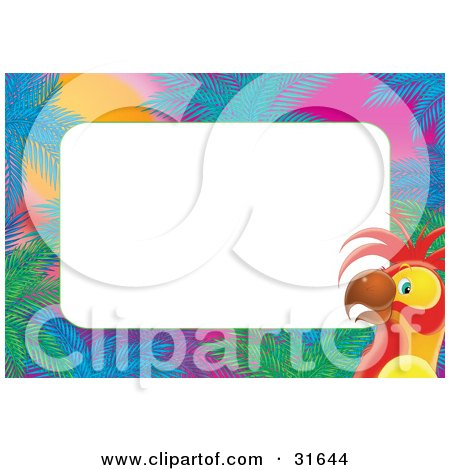 Clipart Illustration of a Stationery Border Or Frame Of Palms And A Parrot At Sunset by Alex Bannykh