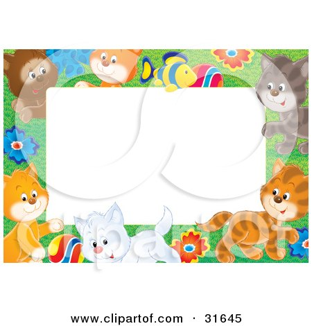Clipart Illustration of a Stationery Border Or Frame Of A Litter Of Playful Kittens, Flowers And A Fish by Alex Bannykh
