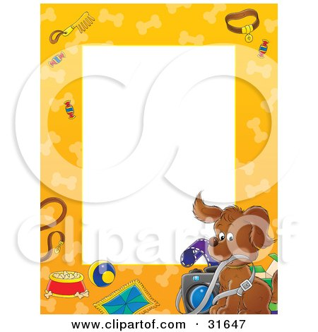 Clipart Illustration of a Stationery Border Or Frame Of A Puppy Dog With A Camera, Leash, Food, Toys And Dog Bones by Alex Bannykh