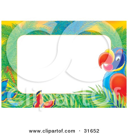 Clipart Illustration of a Stationery Border Or Frame Of Butterflies, Palms And A Parrot by Alex Bannykh