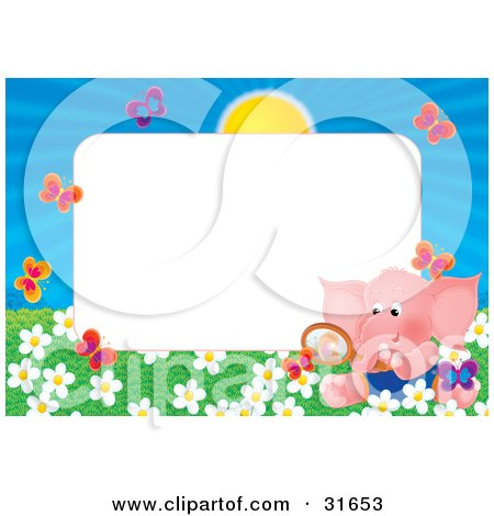 Clipart Illustration of a Stationery Border Or Frame With An Elephant Watching Butterflies In A Field Of Flowers by Alex Bannykh