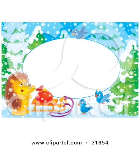 Clipart Illustration of a Stationery Border Or Frame With Bluebirds, A Hedgehog And Sled On A Snowy Winter Day by Alex Bannykh