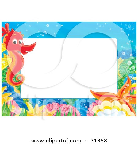 Clipart Illustration of a Stationery Border Or Frame With A Red Seahorse, Shells And Starfish by Alex Bannykh
