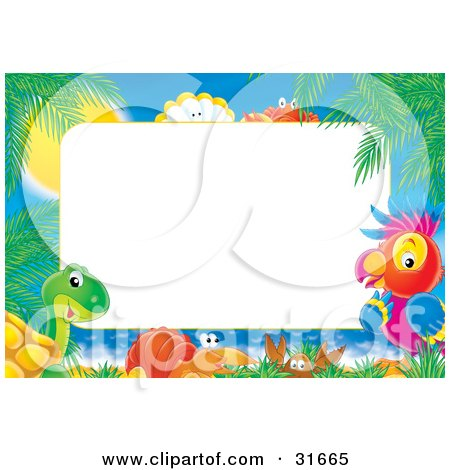 Clipart Illustration of a Stationery Border Or Frame Of Palm Trees, Sunshine, Shells, Crabs, Sea Snails, A Turtle And Parrot by Alex Bannykh