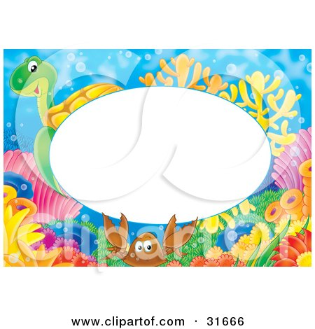 Clipart Illustration of a Stationery Border Or Frame With A Sea Turtle, Crab And Corals by Alex Bannykh