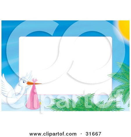 Clipart Illustration of a Stationery Border Or Frame Of A Stork Delivering A Baby And Flying Over Palms by Alex Bannykh