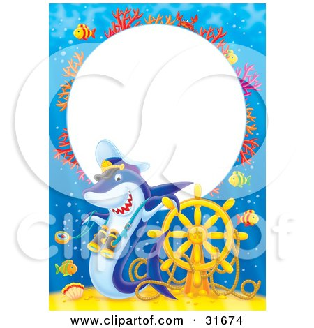 Clipart Illustration of a Stationery Border Or Frame Of Colorful Coral, Fish, Sunken Treasure, A Helm And Shark by Alex Bannykh