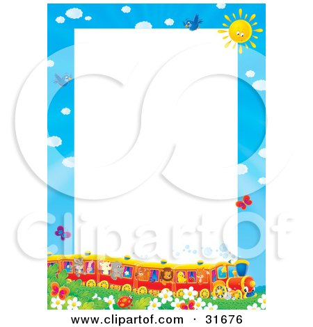 Clipart Illustration Of A Stationery Border Or Frame Of A Train Full Of Animals In A Field Of Flowers And Butterflies