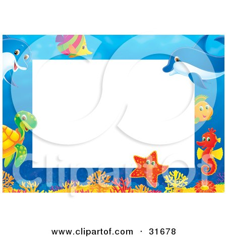 Clipart Illustration of a Stationery Border Or Frame With Colorful Marine Fish, A Turtle, Starfish, Seahorse And Dolphins by Alex Bannykh