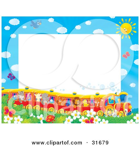 Clipart Illustration of a Stationery Border Or Frame Of Birds, Butterflies, Bugs, And Flowers Watching A Train Of Animals On A Sunny Day by Alex Bannykh