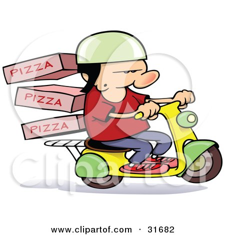 Royalty-free occupation clipart picture of a pizza delivery boy on a scooter