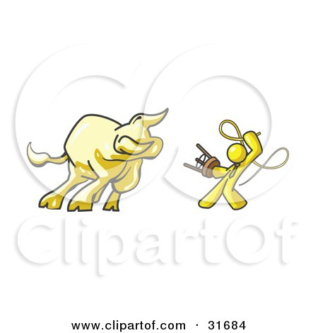 Clipart Illustration of a Yellow Man Holding a Stool and Whip While Taming a Bull, Bull Market by Leo Blanchette