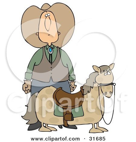 Clipart Illustration of a White Cowboy in a Hat, Standing Behind His Short, Chubby Pony by djart