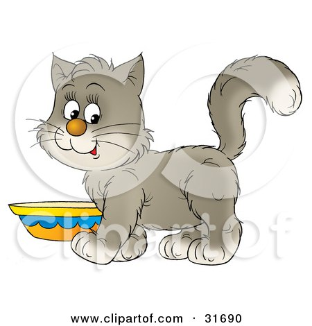 Clipart Illustration of a Cute Gray And White Kitten Standing By A Saucer Of Milk by Alex Bannykh