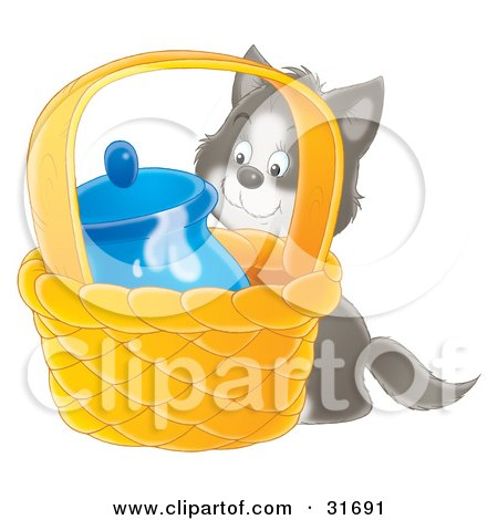 Clipart Illustration of a Sneaky Gray And White Kitten Trying To Get To Milk In A Jar In A Basket by Alex Bannykh