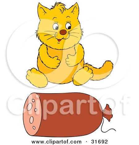 Clipart Illustration of an Overweight Yellow Cat Sitting In Front Of A Roll Of Sausage by Alex Bannykh