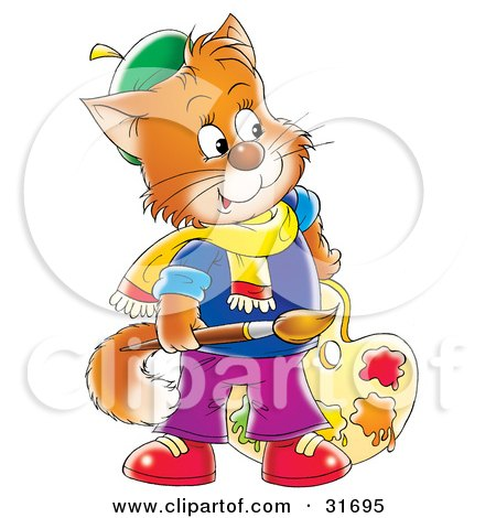 Clipart Illustration of an Orange Cat Artist Holding A Paintbrush And Paint Palette by Alex Bannykh