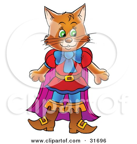 Clipart Illustration of a Brown Cat In Clothes And Boots, Puss In Boots by Alex Bannykh