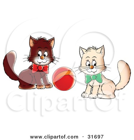 Clipart Illustration of Two White And Brown Kittens Wearing Bows, Playing With A Ball, Glancing At The Viewer by Alex Bannykh