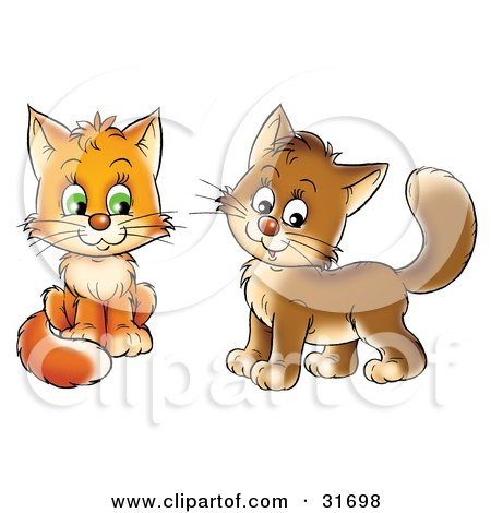 Clipart Illustration of Two Frisky Orange And Brown Kitty Cats Looking At The Viewer by Alex Bannykh