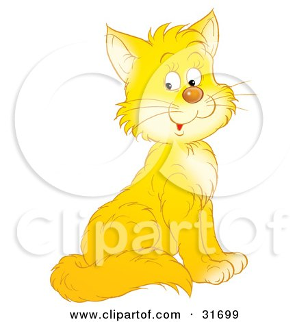 Clipart Illustration of an Adorable Yellow Kitty Cat With White Cheeks And Chest by Alex Bannykh
