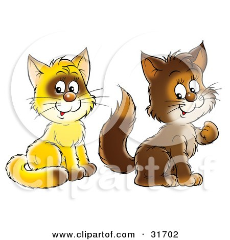 Clipart Illustration of Two Yellow And Brown Kitty Cats Sitting And Looking At The Viewer by Alex Bannykh