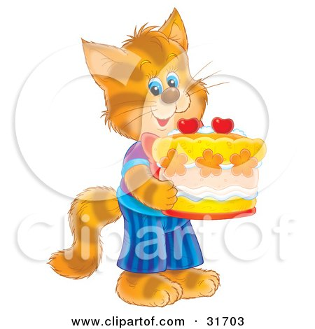 Clipart Illustration of a Cute Striped Kitty Cat In Clothes, Standing On Its Hind Legs And Holding A Birthday Cake by Alex Bannykh
