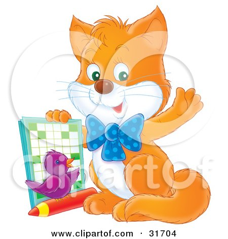 Clipart Illustration of a Smart Ginger Kitten And Purple Bird, Waving At The Viewer And Holding Up An Activity Book by Alex Bannykh