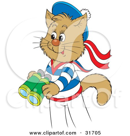 Clipart Illustration of a Cute Sailor Cat In Uniform, Holding A Pair Of Binoculars by Alex Bannykh