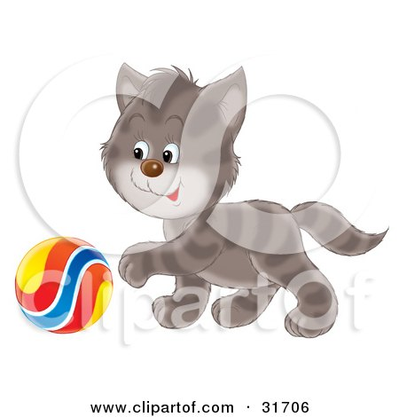 Clipart Illustration of a Playful Cute Gray Striped Kitten Reaching His Paw Towards A Colorful Ball by Alex Bannykh