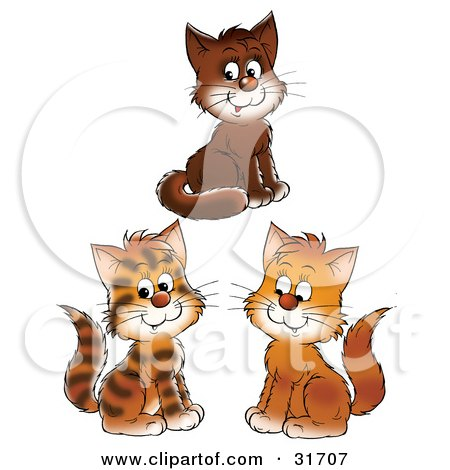 Clipart Illustration of a Group Of Three Brown, And Striped Kittens Smiling by Alex Bannykh