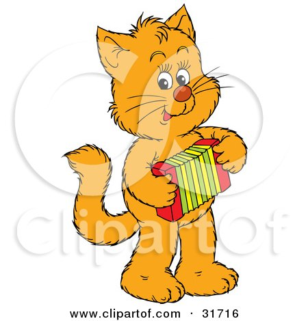 Clipart Illustration of a Talented Ginger Kitten Standing On Its Hind Legs And Playing An Accordion by Alex Bannykh