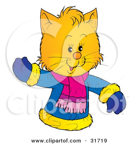 animal clipart picture of a friendly yellow kitten wearing a winter coat