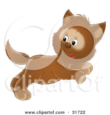 Clipart Illustration of a Cute Leaping Brown Kitten Jumping And Looking Back by Alex Bannykh