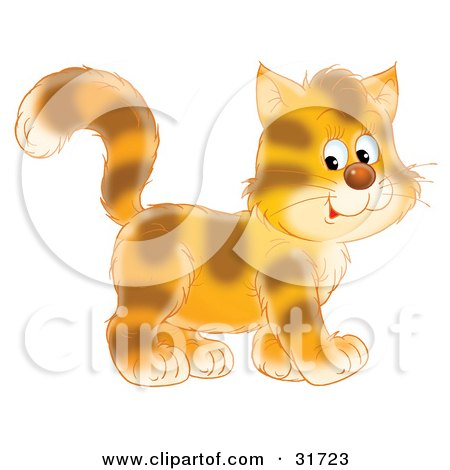 Clipart Illustration of a Cute Tiger Striped Kitty Cat In Profile, Walking To The Right by Alex Bannykh