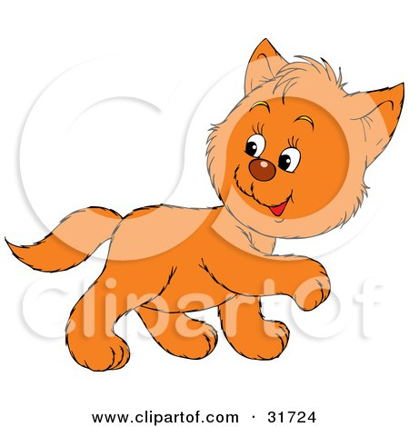 Clipart Illustration of a Cute Ginger Kitten Walking To The Right, Looking Back Over His Shoulder by Alex Bannykh