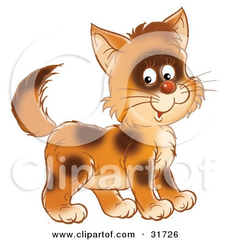 Clipart Illustration of a Cute Brown Kitty Cat With Spots, Smiling At The Viewer by Alex Bannykh